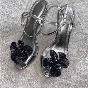 Jcrew Foiled Silver Heels